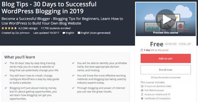 [100% Off] Blog Tips - 30 Days to Successful WordPress Blogging in 2019| Worth 199,99$