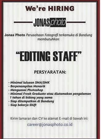 Lowongan Kerja JONAS PHOTO Bandung 2016