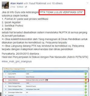 Apa penyebab dan solusi jika di info PTK muncul tulisan PTK Tidak Lulus Verifikasi GTK, Tidak loos Verval GTK