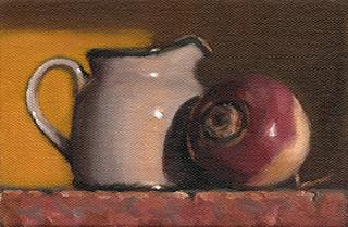 Still life oil painting of a small ceramic milk jug beside a turnip.