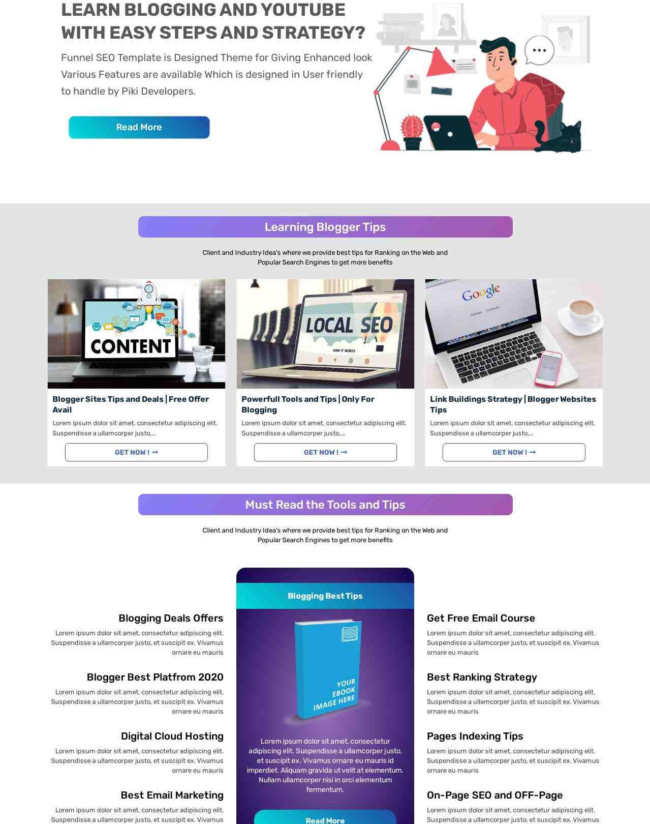 Funnel SEO -Responsive And Blogging Blogger Template