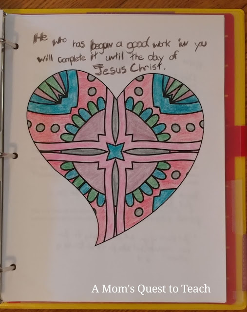 Text: He who has begun a good work in you will complete it until the day of Jesus Christ; heart drawing