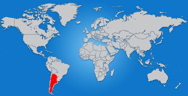 Gambar Peta letak negara Argentina