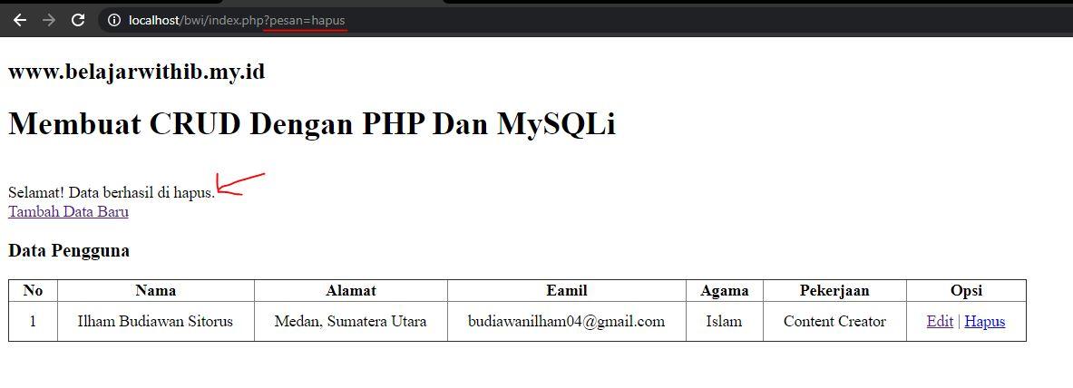 Tutorial PHP Pemula Part 14 : Cara Membuat CRUD Dengan PHP Dan MYSQLi