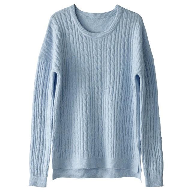 pullover con le trecce colore azzurro