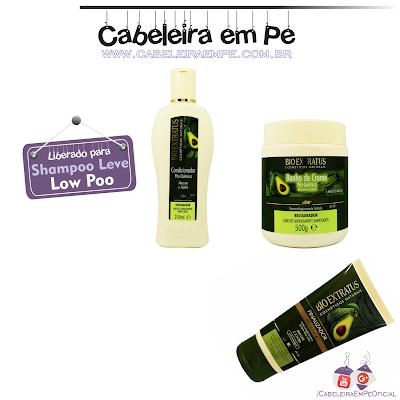 Composição Condicionador, Máscara Banho de Creme e Finalizador Pós Química (Abacate e Jojoba) - Bio Extratus (Liberada para Low Poo)
