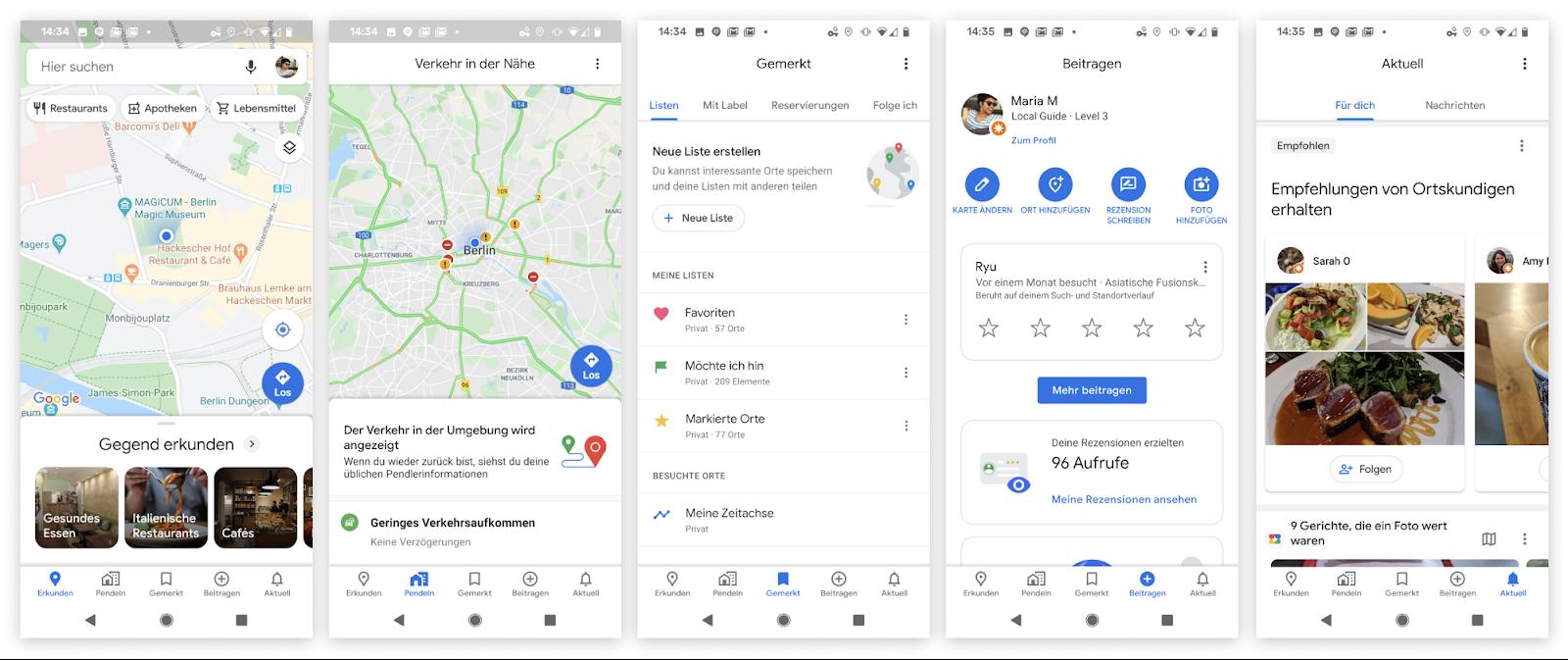 Verschiedene Google Maps Screenshots
