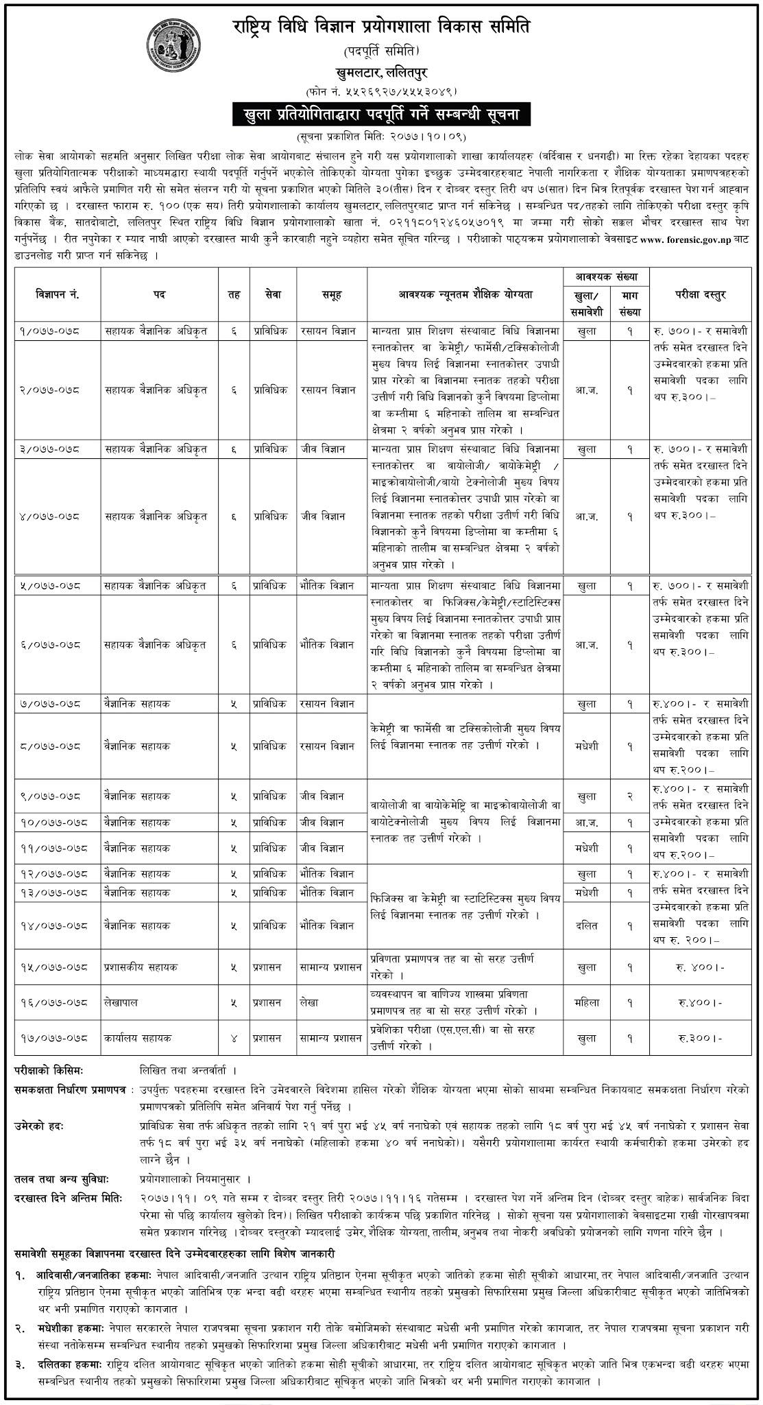 Job Vacancies At National Forensic Science Laboratory Nepal
