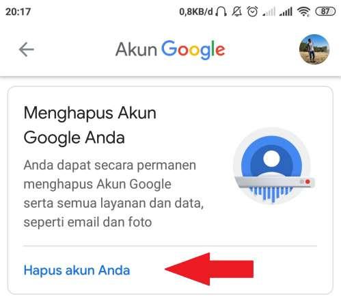 tombol untuk menghapus akun google secara keseluruhan