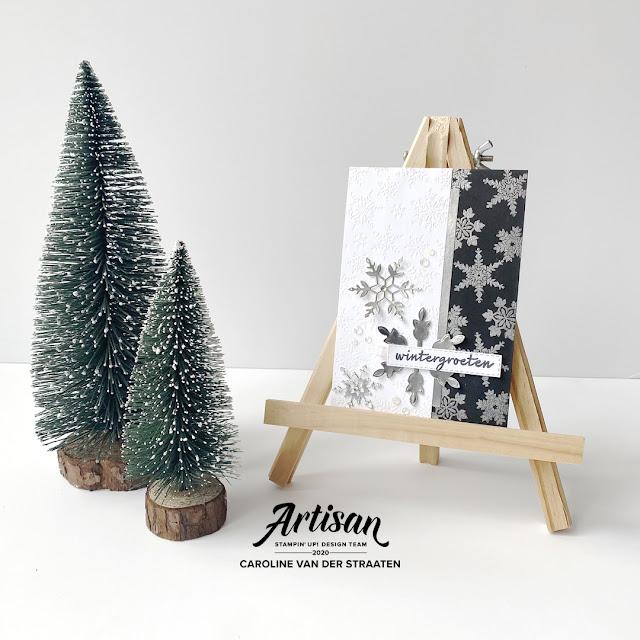 Stampin' Up! - Winterwensen kerstkaart  - Snowflake wishes christmas card - Caro's Kaartjes - Artisan Design Team 2020