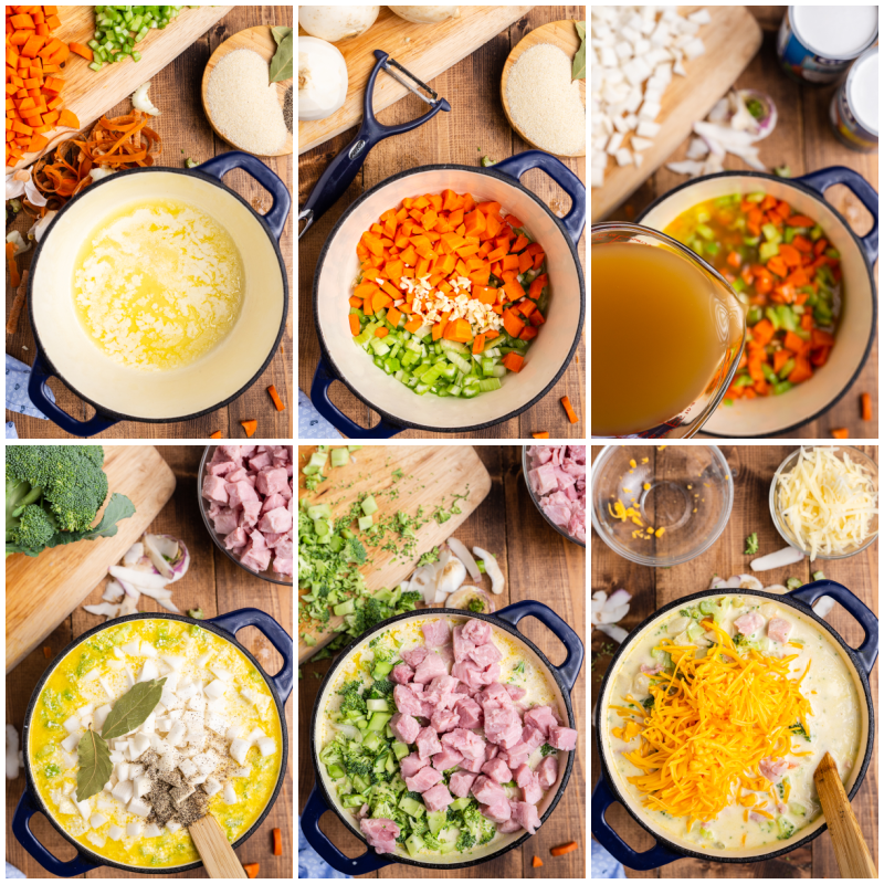 Six overhead photos of the process of making Keto Cheesy Ham Chowder.