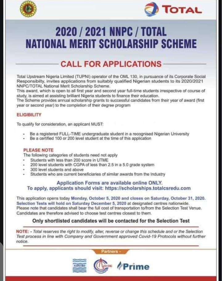 NNPC/ TOTAL Undergraduate Scholarship 2020/2021