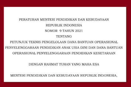 Juknis BOP PAUD 2021 (Permendikbud Nomor 9 Tahun 2021)