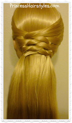 Zig zag woven braid half up tutorial.