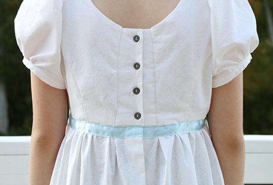 Back Detail of M7493 Inspired by Eliza Hamilton's Burn Dress