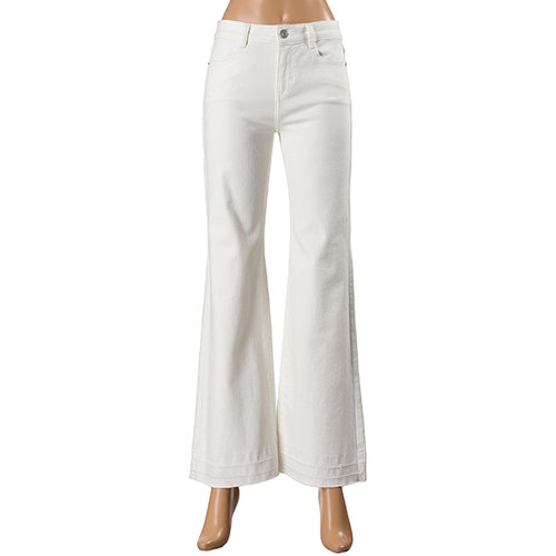 White Boot-Cut Denim Pants