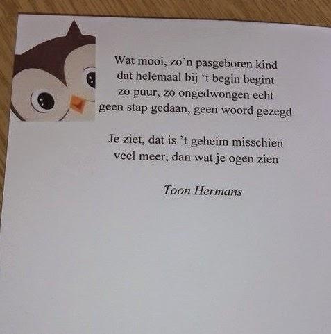 Bekend Geliefde Gedicht Geboorte Toon Hermans KF34 | Belbin.Info DV23