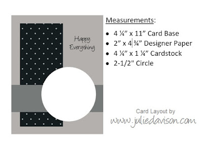 Card Layout with measurements by Julie Davison, www.juliedavison.com ~ Click for 3 Card Ideas using this Layout!