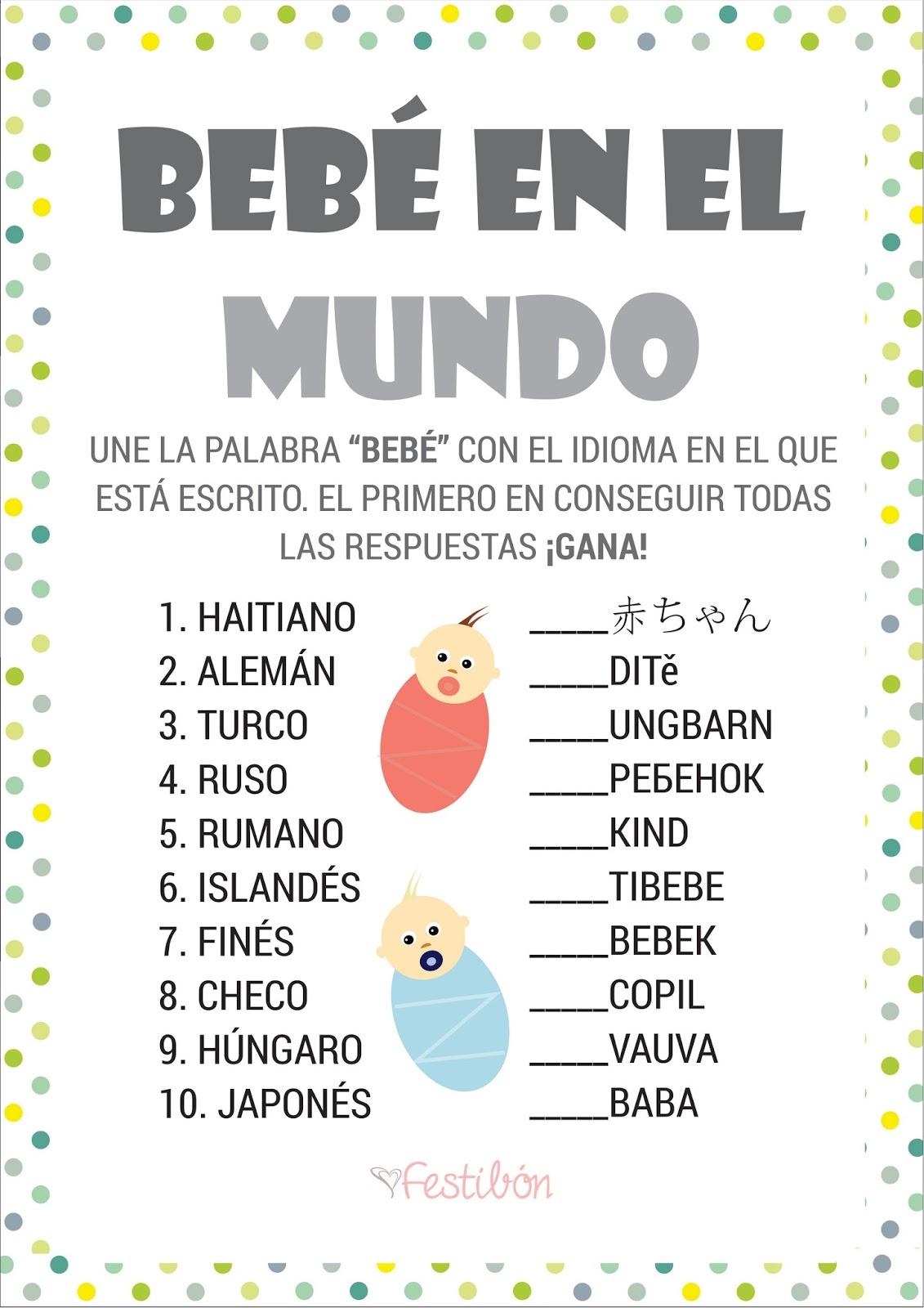 Bebe En El Mundo Juegos De Baby Shower