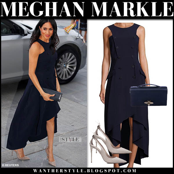 Meghan Markle in dark navy high low antonio berardi dress and beige suede aquazzura pumps royal tour new zealand style october 30