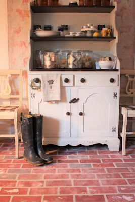 faux brick painted on concrete and hutch