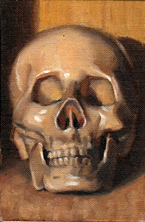 Oil painting of a plastic skull viewed from the front.