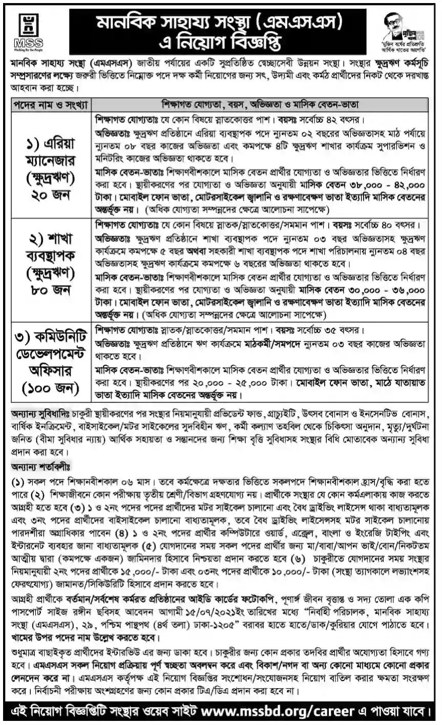 Manabik Shahajya Sangstha (MSS) Job Circular 2021