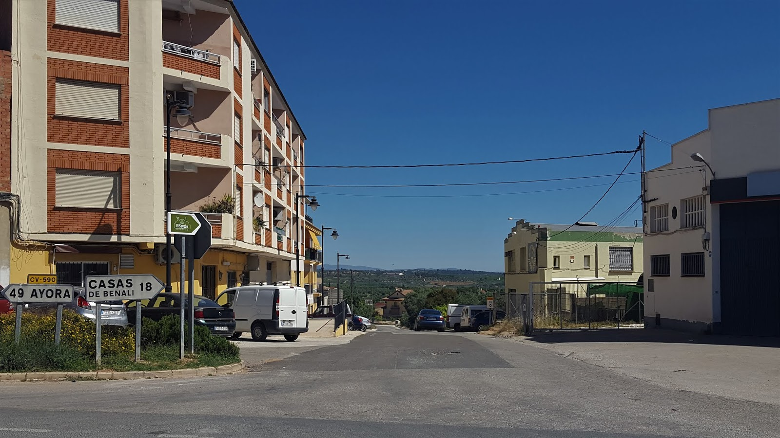 Start of CV-584 road in Enguera, Valencian Community, Spain