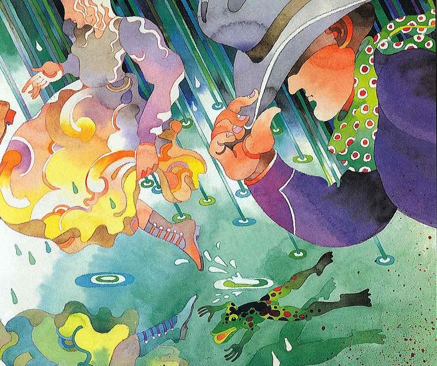 a Don Weller children's book illustration, rain storm