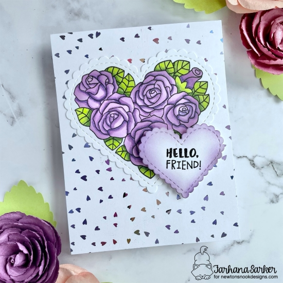Newton's Nook Designs & Therm O Web Inspiration Week | Purple Roses Card by Farhana Sarker | Heartfelt Roses Stamp Set and Heart Frames Die Set by Newton's Nook Design with Foil by Therm O Web #newtonsnook #handmade