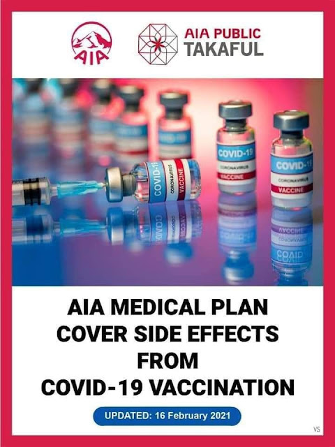 Good news pada clients AIA  AIA Medical plan cover side effects from Covid-19 vaccination