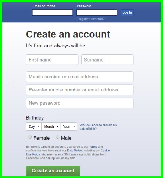 Facebook sign up for new account