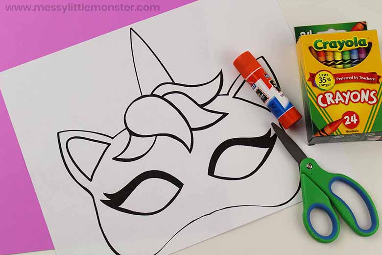 image regarding Printable Unicorn Mask named Unicorn mask craft - Messy Minor Monster