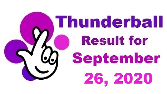 Thunderball Results for Saturday, September 26, 2020
