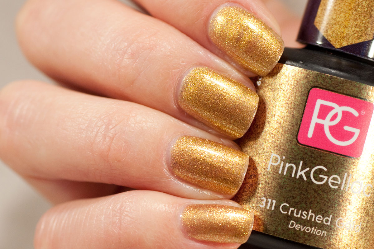 Pink Gellac Devotion Collection swatches - 311 Crushed Gold