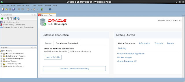 Oracle SQL Welcome Page