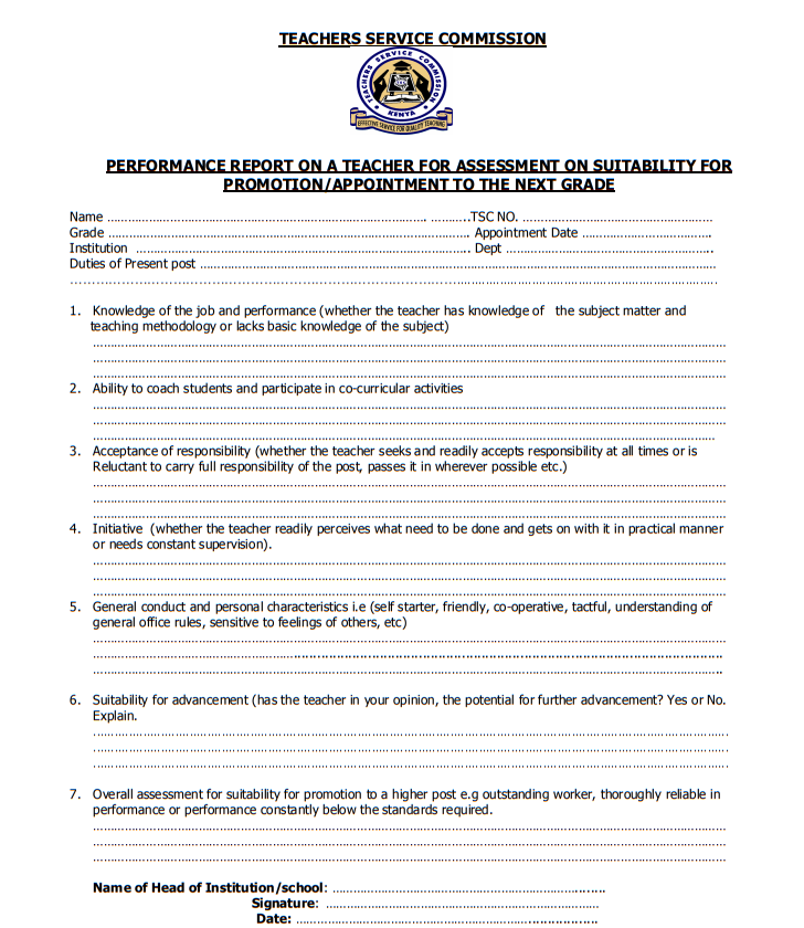 [PDF] Teachers Service Commission TSC Promotion Application Form