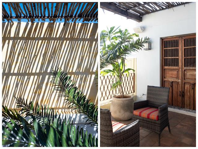Juego de sombras en una terraza amarilla con plantas; y detalle de las sillas de la terraza