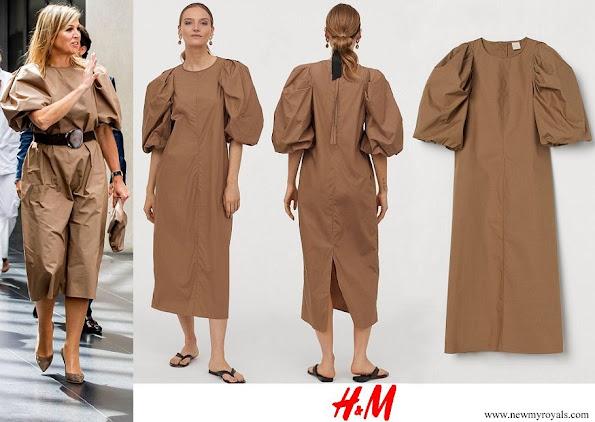Queen Maxima wore H&M dark-beige Balloon-sleeved Dress