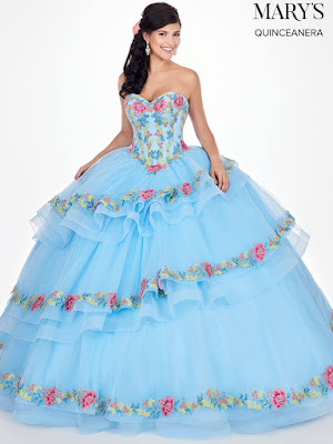 Sky Blue Color Mary's Quinceanera Ball Gown Dress