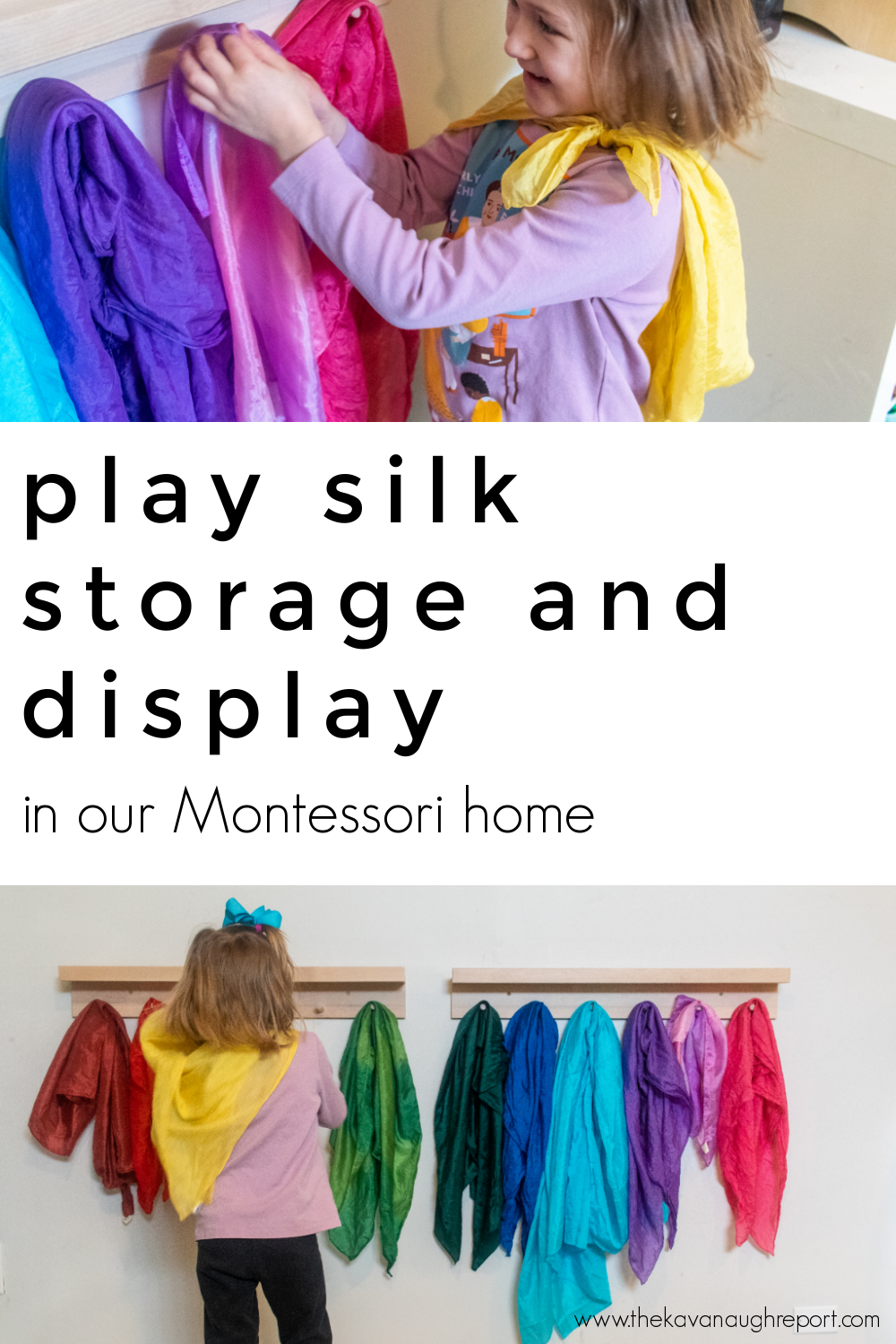 Storage and display solutions for play silks in a Montessori home. Easy to use ideas to help make this popular toy accessible and organized.