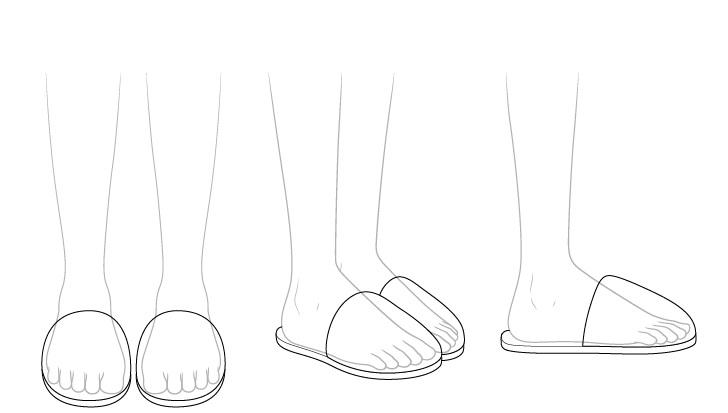 Sandal anime melihat melalui gambar