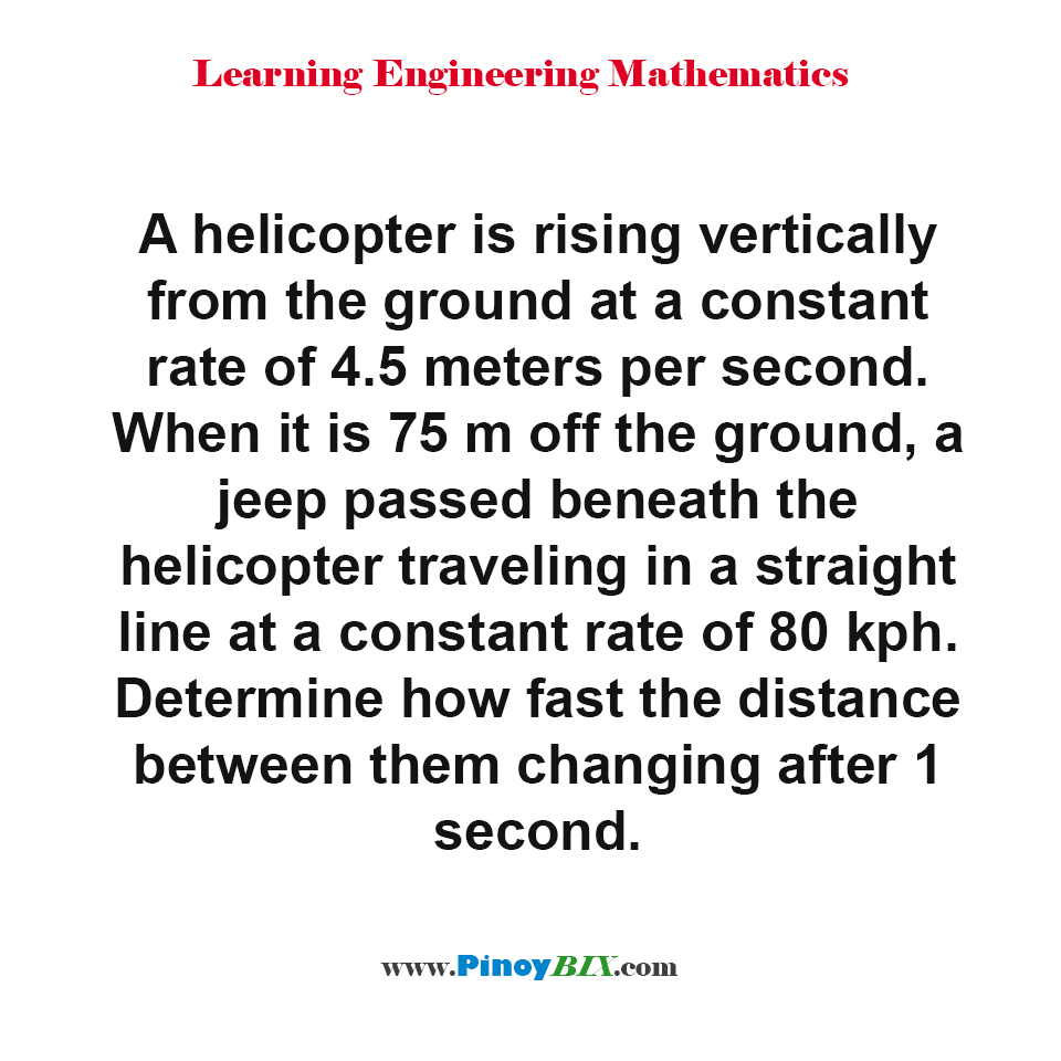 Determine how fast the distance between helicopter and jeep changing after 1 second