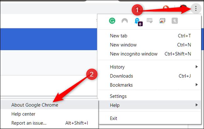انقر فوق المزيد ، ثم أشر إلى التعليمات ، ثم انقر فوق حول Google Chrome
