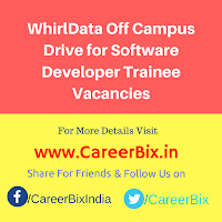 WhirlData Off Campus Drive for Software Developer Trainee Vacancies