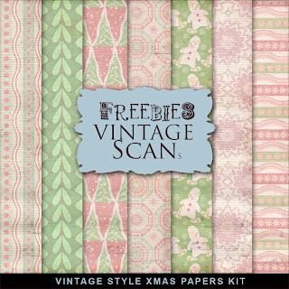 Freebies Kit of Vintage Style XMAS Papers