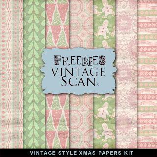 Freebies Kit of Vintage Style XMAS Papers