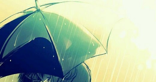 Anime Couple Hug Raining Umbrella Kissing