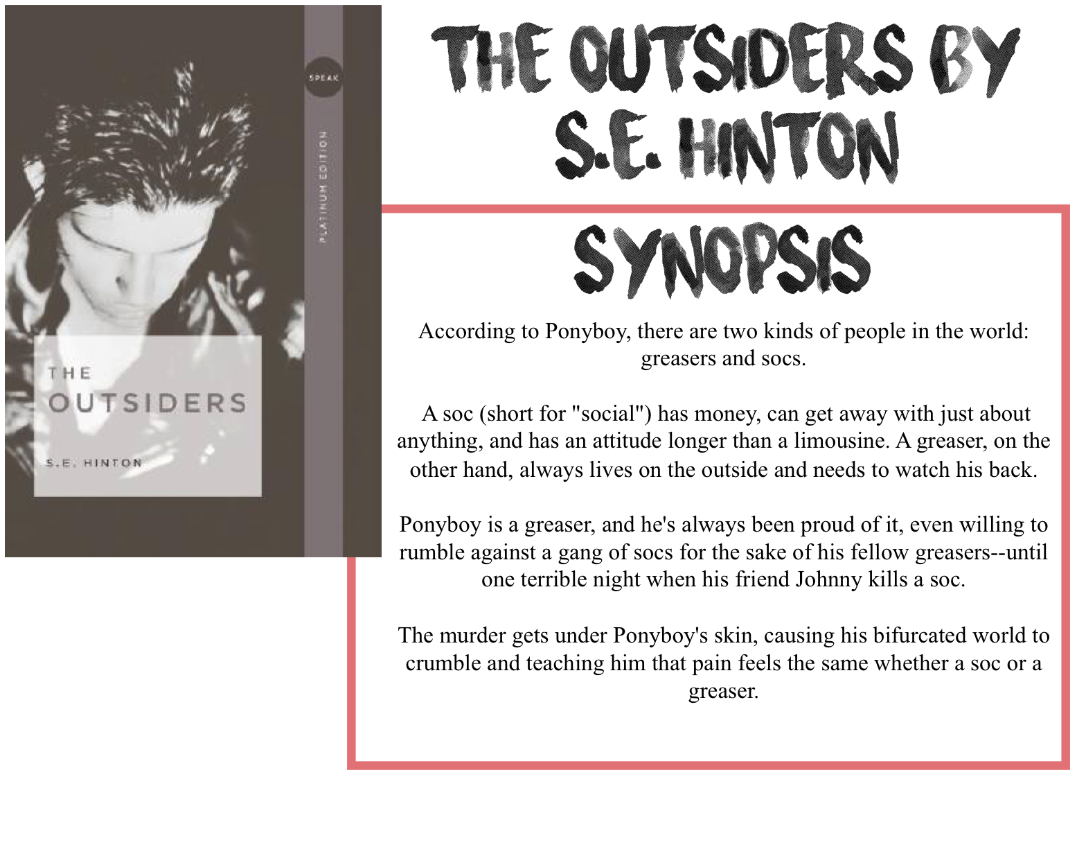 an overview of the novel the outsiders by s e hinton When author ally carter found out that se hinton had been a teenager when she wrote the outsiders, something inside her clicked it was the first moment she realized she could be a writer.