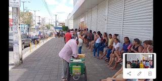 Em Guarabira, muita gente faz fila para receber auxílio emergencial de R$ 600; Veja vídeo